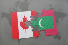 Puzzle with the national flag of canada and maldives on a world map background. Stock Images