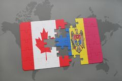 Puzzle with the national flag of canada and moldova on a world map background. 3D illustration Royalty Free Stock Image