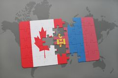 Puzzle with the national flag of canada and mongolia on a world map background. Royalty Free Stock Photo