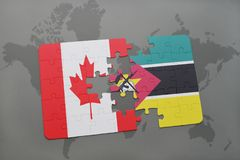 Puzzle with the national flag of canada and mozambique on a world map background. 3D illustration Stock Photo