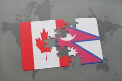 Puzzle with the national flag of canada and nepal on a world map background. 3D illustration Stock Photography