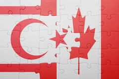 Puzzle with the national flag of canada and northern cyprus Royalty Free Stock Images