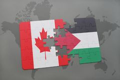 Puzzle with the national flag of canada and palestine on a world map background. 3D illustration Royalty Free Stock Photos