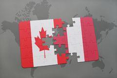 Puzzle with the national flag of canada and peru on a world map background. 3D illustration Stock Photography