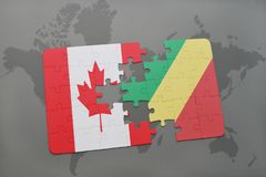 Puzzle with the national flag of canada and republic of the congo on a world map background. Stock Photos