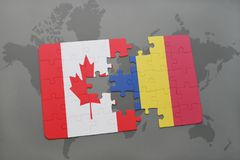 Puzzle with the national flag of canada and romania on a world map background. Royalty Free Stock Photography