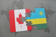 Puzzle with the national flag of canada and rwanda on a world map background. 3D illustration Stock Photo