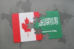 Puzzle with the national flag of canada and saudi arabia on a world map background. 3D illustration vector illustration