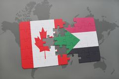 Puzzle with the national flag of canada and sudan on a world map background. Royalty Free Stock Images