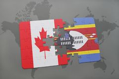 Puzzle with the national flag of canada and swaziland on a world map background. Stock Images