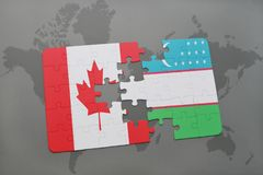 Puzzle with the national flag of canada and uzbekistan on a world map background. Royalty Free Stock Photo