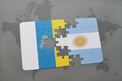 Puzzle with the national flag of canary islands and argentina on a world map background. 3D illustration Stock Photo