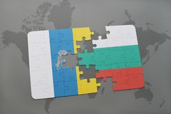 puzzle with the national flag of canary islands and bulgaria on a world map background. Stock Photography