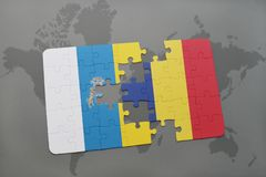 Puzzle with the national flag of canary islands and chad on a world map background. 3D illustration Stock Photos