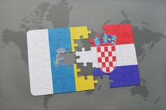 Puzzle with the national flag of canary islands and croatia on a world map background. 3D illustration royalty free stock images