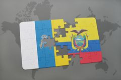 Puzzle with the national flag of canary islands and ecuador on a world map background. 3D illustration Royalty Free Stock Photo