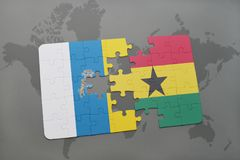 Puzzle with the national flag of canary islands and ghana on a world map background. 3D illustration Stock Photography