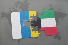 Puzzle with the national flag of canary islands and kuwait on a world map background. 3D illustration Royalty Free Stock Photo
