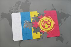 Puzzle with the national flag of canary islands and kyrgyzstan on a world map background. 3D illustration Royalty Free Stock Images