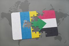 Puzzle with the national flag of canary islands and sudan on a world map background. 3D illustration Stock Photos