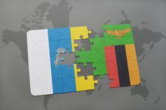 Puzzle with the national flag of canary islands and zambia on a world map background. 3D illustration Stock Photo