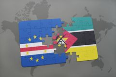 Puzzle with the national flag of cape verde and mozambique on a world map. Background. 3D illustration Royalty Free Stock Photography