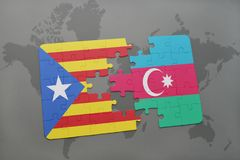 puzzle with the national flag of catalonia and azerbaijan on a world map background. Stock Photo