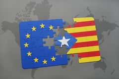 Puzzle with the national flag of catalonia and european union on a world map Royalty Free Stock Photography