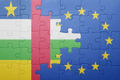 Puzzle with the national flag of central african republic and european union. Concept royalty free stock images