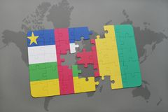 Puzzle with the national flag of central african republic and guinea on a world map. Background. 3D illustration Stock Image