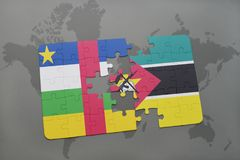 Puzzle with the national flag of central african republic and mozambique on a world map Stock Photos