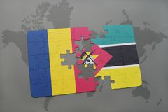 Puzzle with the national flag of chad and mozambique on a world map Stock Photos