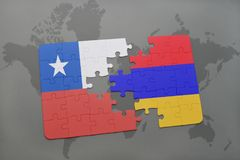 puzzle with the national flag of chile and armenia on a world map background. Stock Photos