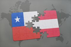 Puzzle with the national flag of chile and austria on a world map background. 3D illustration Royalty Free Stock Photos