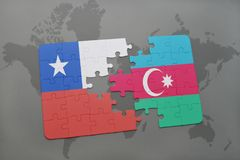 Puzzle with the national flag of chile and azerbaijan on a world map background. 3D illustration Stock Photography