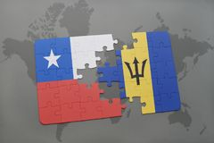 Puzzle with the national flag of chile and barbados on a world map background. Royalty Free Stock Image