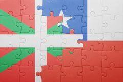 Puzzle with the national flag of chile and basque country Royalty Free Stock Photo