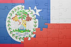 Puzzle with the national flag of chile and belize Stock Image
