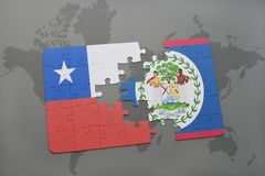 puzzle with the national flag of chile and belize on a world map background. Royalty Free Stock Photography