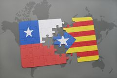 Puzzle with the national flag of chile and catalonia on a world map background. 3D illustration Stock Photography