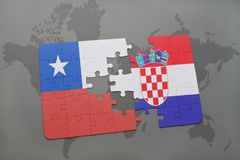 Puzzle with the national flag of chile and croatia on a world map background. Royalty Free Stock Photography