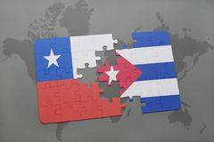 puzzle with the national flag of chile and cuba on a world map background. Stock Photos