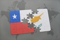 Puzzle with the national flag of chile and cyprus on a world map background. Stock Image
