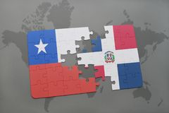Puzzle with the national flag of chile and dominican republic on a world map background. 3D illustration Stock Image