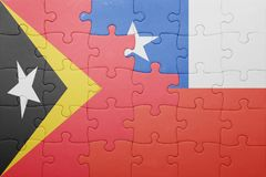 Puzzle with the national flag of chile and east timor Stock Image
