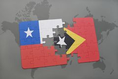 Puzzle with the national flag of chile and east timor on a world map background. 3D illustration Stock Photos