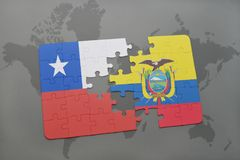 Puzzle with the national flag of chile and ecuador on a world map background. Royalty Free Stock Photography