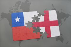Puzzle with the national flag of chile and england on a world map background. Stock Photos