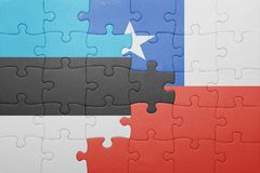 Puzzle with the national flag of chile and estonia Royalty Free Stock Photos