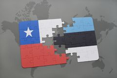Puzzle with the national flag of chile and estonia on a world map background. Stock Images